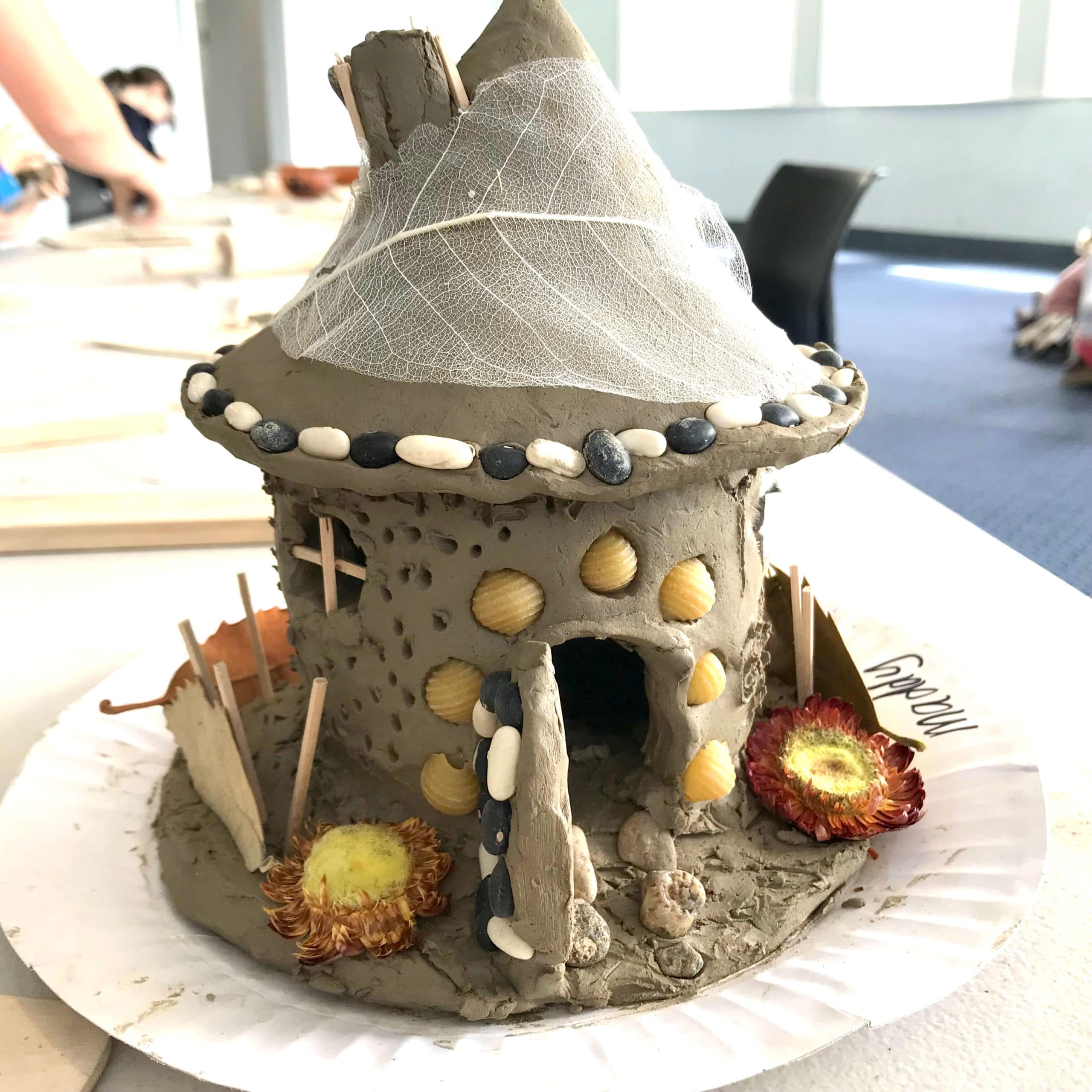 How to make a fairy house with clay, beans and found items
