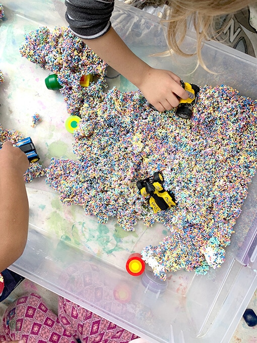 Sensory foam for kids provides endless open ended play with cars, animals, etc