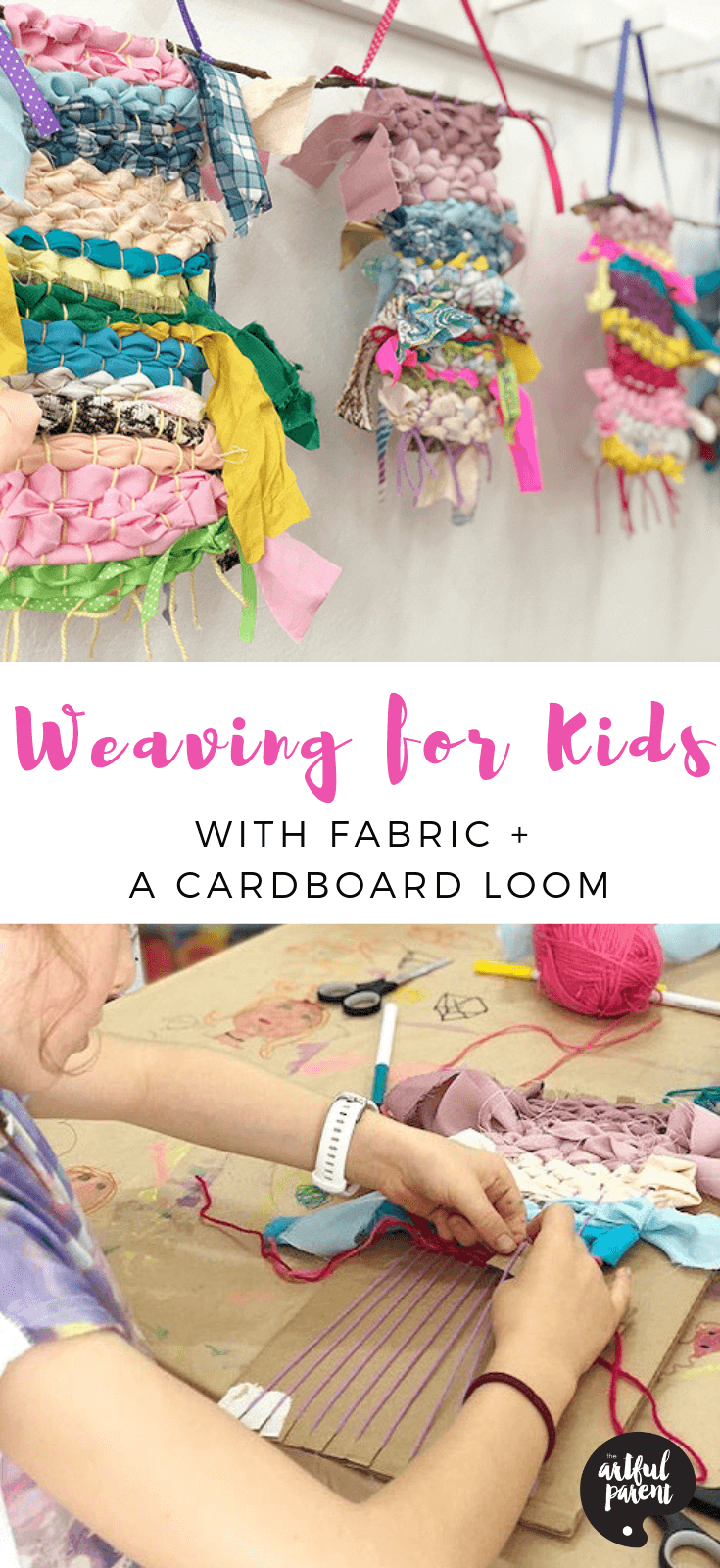 Discover the tactile joy of weaving for kids in this simplified method. Danielle Falk of Little Ginger Studio provides step-by-step instructions to create these beautiful wall hangings with fabric, ribbon and a cardboard loom. #kidsweaving #artsandcrafts #kidscrafts #artsandcraftsforkids #craftsforkids #creativehome