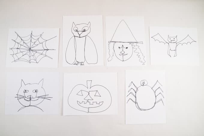 Double doodle Halloween Drawing for Kids