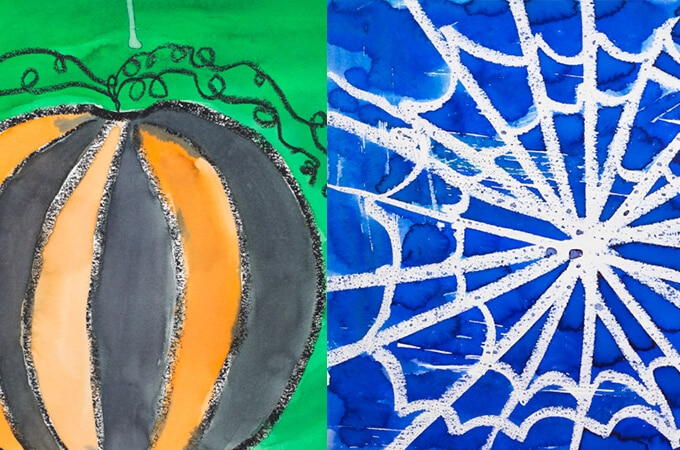 Jack-o-lantern and spiderweb watercolor resist paintings