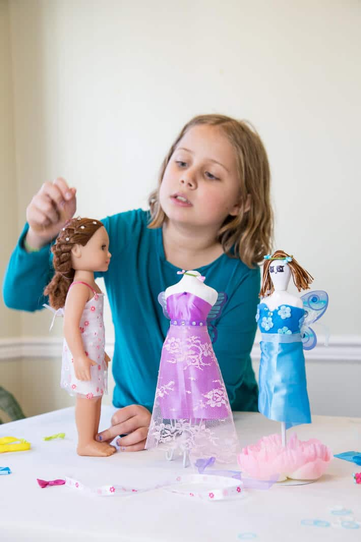Fashion Design for Kids - Daphne using a kit to create her own outfits and doll clothes