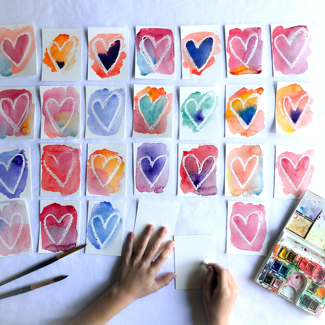 Watercolor wax resist paintings for Valentine's day by Lori Wenger