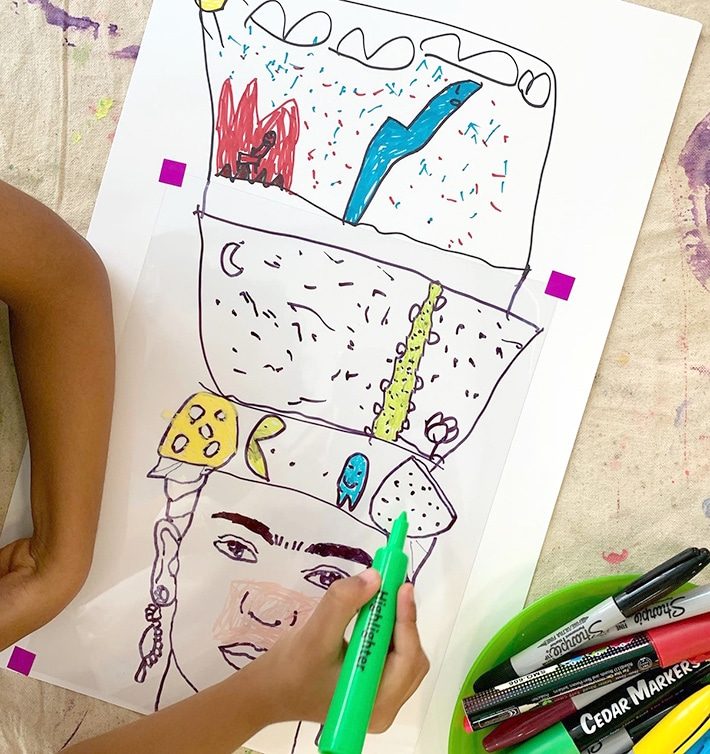 Drawing Frida portraits with markers