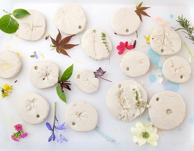 Flower-leaf-prints-in-air-dry-clay