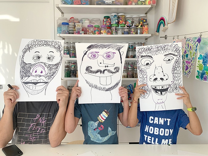 A-family-drawing-challenge-with-collaborative-portraits