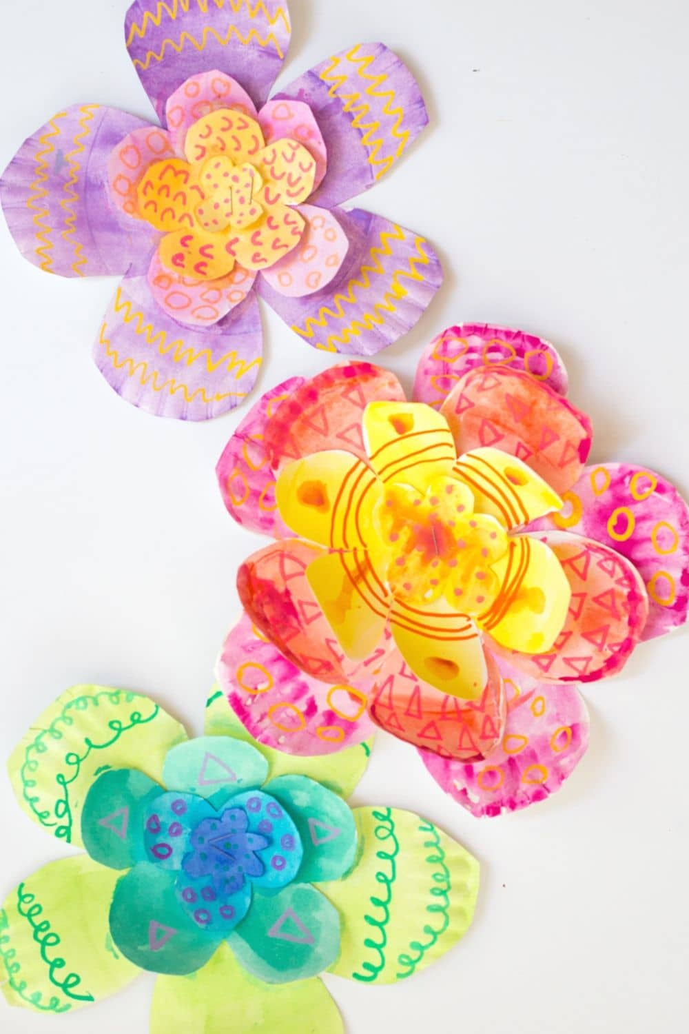 Giant Paper Plate Flowers - 1 of 12 Watercolor Art Activities for Kids