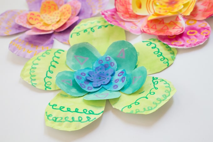 Watercolor Art Activities for Kids - Giant Paper Plate Flowers