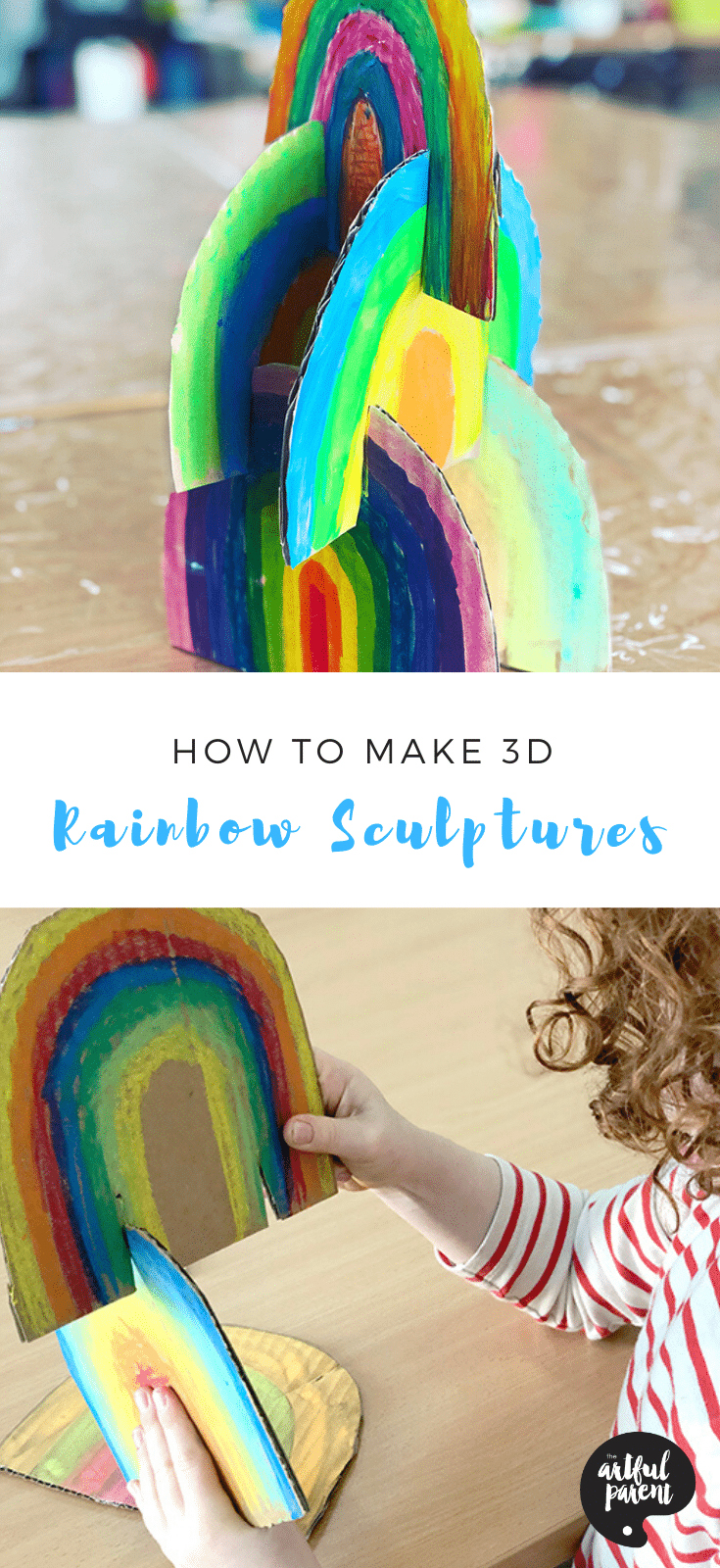 How to Make a 3D Rainbow Cardboard Sculpture for Kids