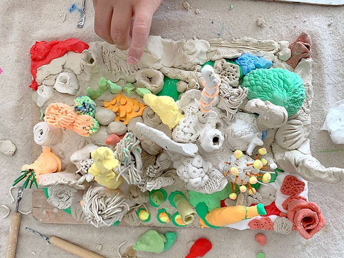 Coral reef made of clay