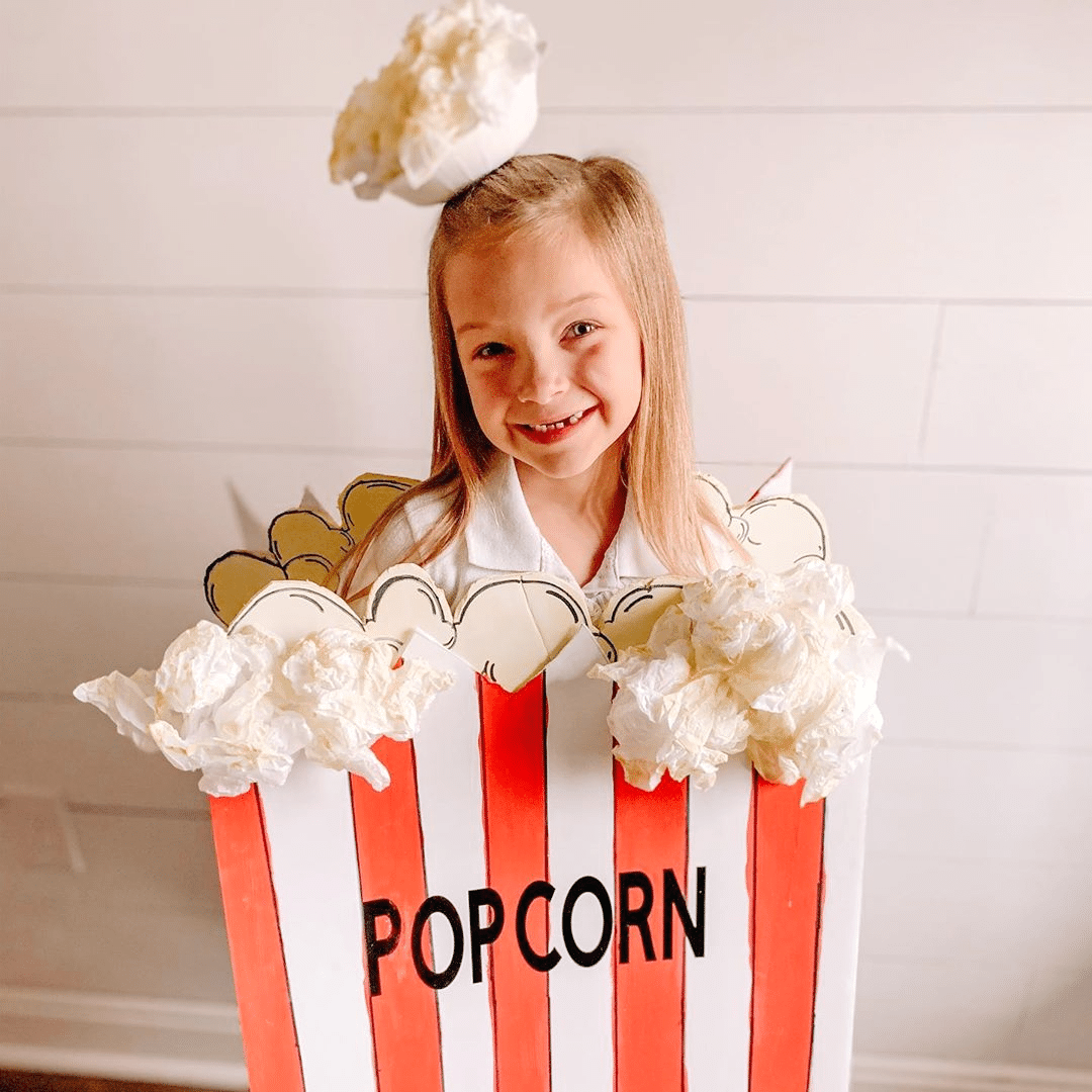 DIY Halloween Costumes for kids– Child dressed as box of popcorn_theholleyhomemaker
