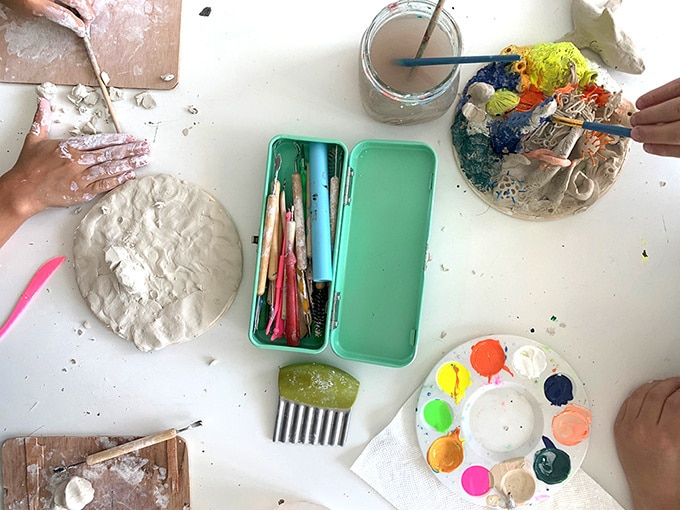 Painting clay coral reef