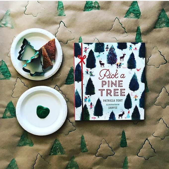 Pick a Pine Tree book with cookie cutter prints – holiday books for kids.