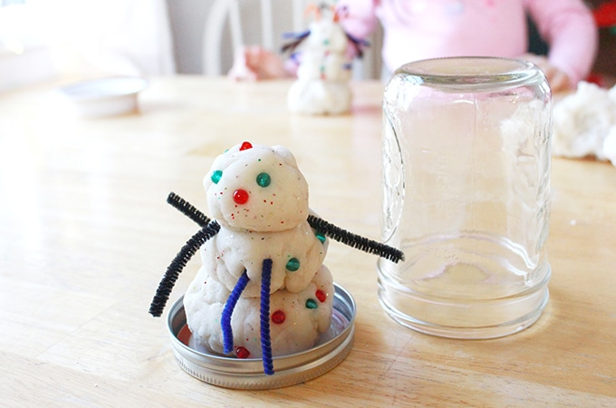 Playdough Snowman in Mason Jar