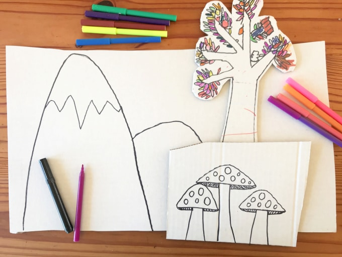 Drawing shapes with markers for magic forest