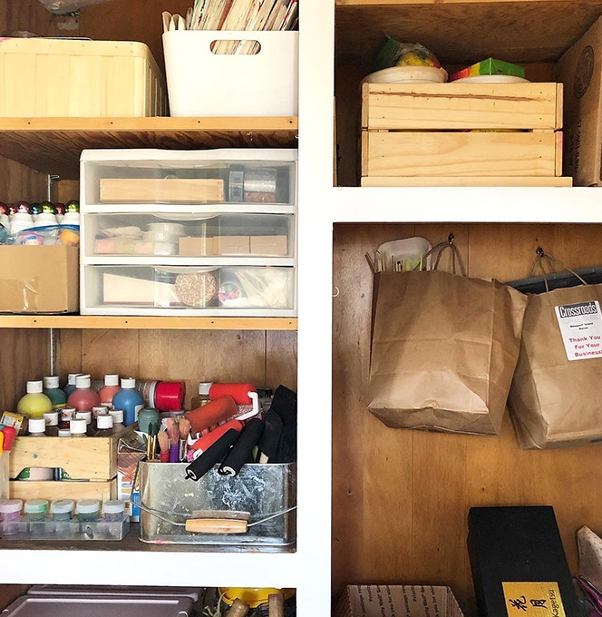 Extra storage for art supplies in kids art space